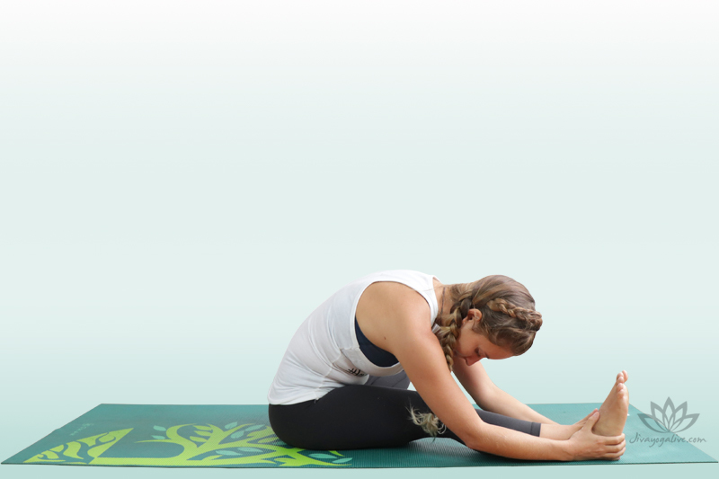 head to knee pose - half seated forward bend 4