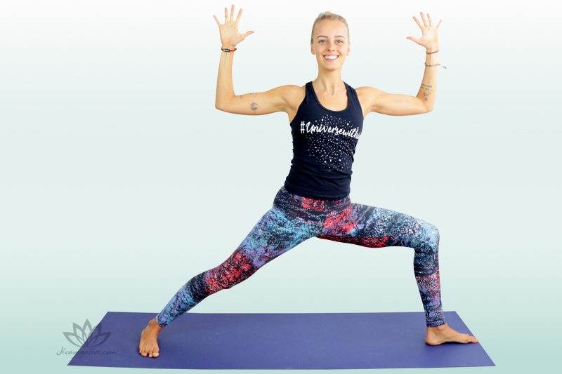 Warrior 2 with Cactus Hands Variation - Virabhadrasana