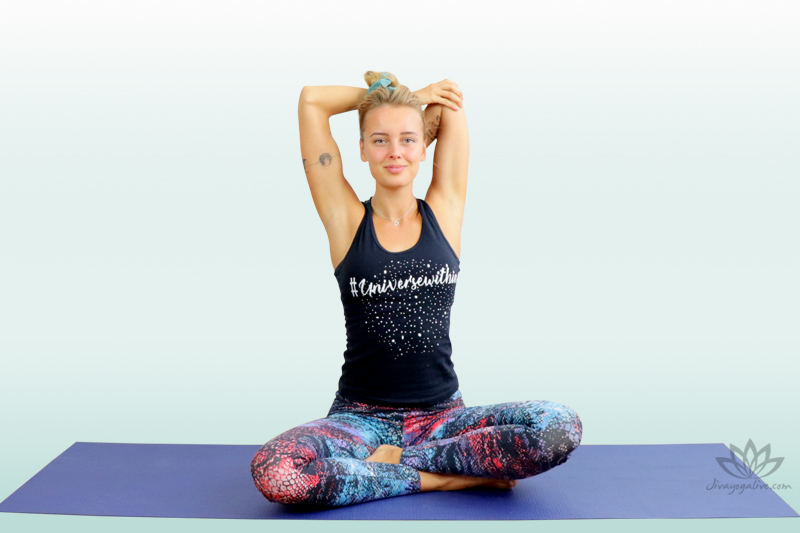 Tricep stretch in easy Pose - Sukhasana