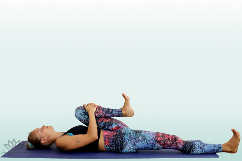 half wind relieving pose - pavana muktasana variation