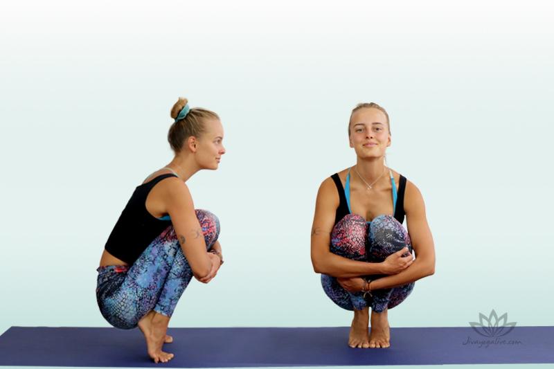 tip toe pose variation - prapadasana