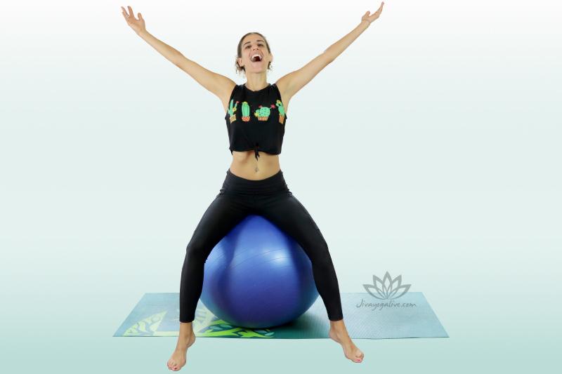 Bounces on yoga ball