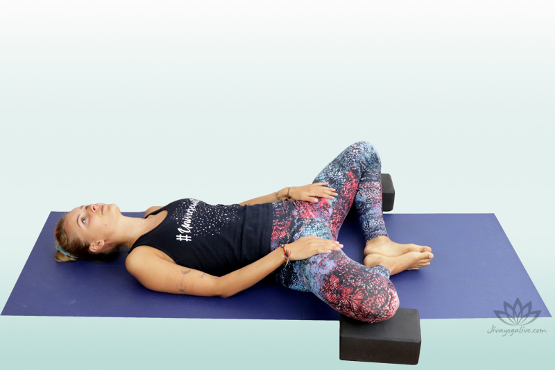 Supported reclined bound angle pose - supta baddha konasana